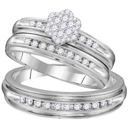 1/2 CTW His & Hers Round Diamond Cluster Matching Bridal Wedding Ring 10kt White Gold - REF-51T5K
