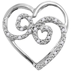 1/20 CTW Round Diamond Curled Heart Pendant 10kt White Gold - REF-7A5N