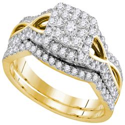 1/2 CTW Round Diamond Bridal Wedding Engagement Ring 14kt Yellow Gold - REF-54N3Y
