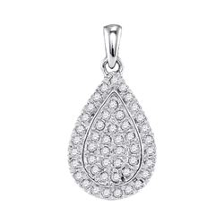 1/4 CTW Round Diamond Framed Teardrop Cluster Pendant 10kt White Gold - REF-19M2A