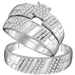 3/8 CTW His & Hers Round Diamond Cluster Matching Bridal Wedding Ring 10kt White Gold - REF-35Y9X