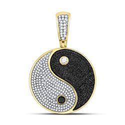 1 & 3/4 CTW Mens Round Black Color Enhanced Diamond Yin Yang Charm Pendant 10kt Yellow Gold - REF-77