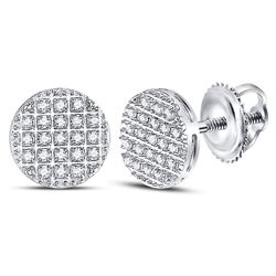 1/6 CTW Mens Round Diamond Circle Cluster Earrings 10kt White Gold - REF-10A8N