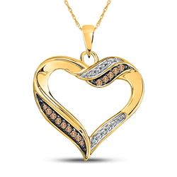 1/10 CTW Round Brown Diamond Heart Pendant 10kt Yellow Gold - REF-13A2N