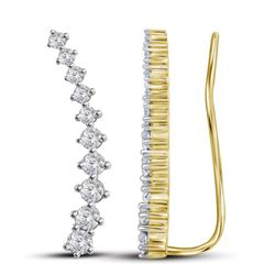 3/4 CTW Round Diamond Climber Earrings 14kt Yellow Gold - REF-47X9T