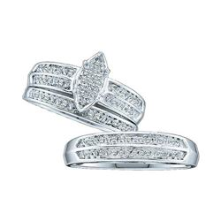 1/4 CTW His & Hers Round Diamond Cluster Matching Bridal Wedding Ring 10kt White Gold - REF-33K3R