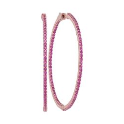 3 & 1/2 CTW Round Natural Pink Sapphire Slender Hoop Earrings 14kt Rose Gold - REF-107H9W