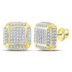 1/2 CTW Mens Round Diamond Square Cluster Stud Earrings 10kt Yellow Gold - REF-30M3A