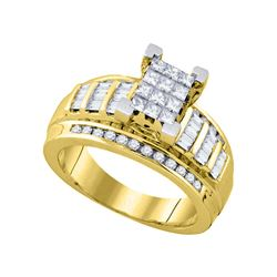 7/8 CTW Princess Diamond Cluster Bridal Wedding Engagement Ring 10kt Yellow Gold - REF-54W3F