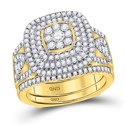 1 & 1/2 CTW Round Diamond Cluster Bridal Wedding Engagement Ring 14kt Yellow Gold - REF-162F3M