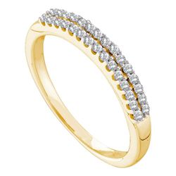 1/5 CTW Round Diamond 2-row Wedding Anniversary Bridal Ring 14kt Yellow Gold - REF-24W3F