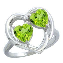 2.60 CTW Peridot Ring 14K White Gold - REF-33H9M