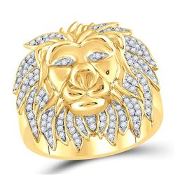 5/8 CTW Mens Round Diamond Lion Mane Cluster Ring 10kt Yellow Gold - REF-63Y3X