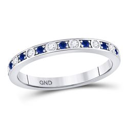 1/4 CTW Round Blue Sapphire Diamond Alternating Stackable Ring 10kt White Gold - REF-15A5N