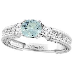 1.30 CTW Aquamarine & Diamond Ring 14K White Gold - REF-87A4X