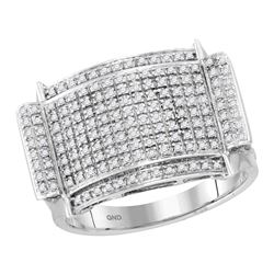 1/2 CTW Mens Round Diamond Rectangle Cluster Ring 10kt White Gold - REF-47R9H