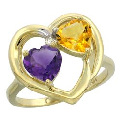 2.61 CTW Diamond, Amethyst & Citrine Ring 10K Yellow Gold - REF-23Y7V