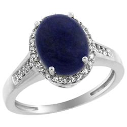2.60 CTW Lapis Lazuli & Diamond Ring 14K White Gold - REF-52M8K