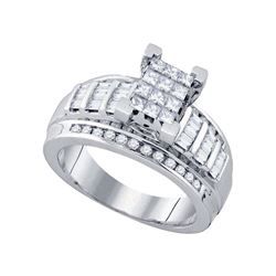 7/8 CTW Princess Diamond Cluster Bridal Wedding Engagement Ring 10kt White Gold - REF-54M3A