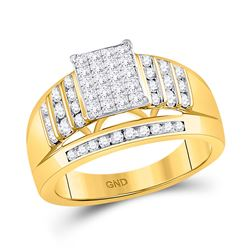 1 CTW Princess Diamond Cluster Ring 10kt Yellow Gold - REF-60T3K