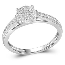 1/5 CTW Round Diamond Cluster Bridal Wedding Engagement Ring 10kt White Gold - REF-15X5T