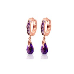 Genuine 3.3 ctw Amethyst Earrings 14KT Rose Gold - REF-50Y6F