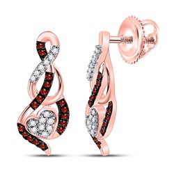 1/6 CTW Round Red Color Enhanced Diamond Heart Earrings 10kt Rose Gold - REF-15M5A