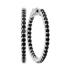 3 & 3/4 CTW Round Pave-set Black Sapphire Inside Outside Hoop Earrings 14kt White Gold - REF-65Y9X
