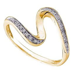 1/20 CTW Round Diamond S Curve Ring 14kt Yellow Gold - REF-9N6Y