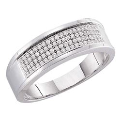 1/4 CTW Mens Round Diamond Wedding Ring 10kt White Gold - REF-27T5K