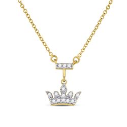 1/10 CTW Round Diamond Crown Tiara Fashion Necklace 10kt Yellow Gold - REF-20N3Y