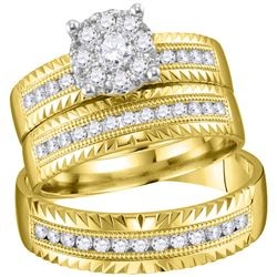 3/4 CTW His & Hers Round Diamond Cluster Matching Bridal Wedding Ring 14kt Yellow Gold - REF-105T6K