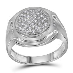 1/3 CTW Mens Round Diamond Circle Cluster Fashion Ring 10kt White Gold - REF-33H6W