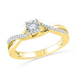 1/6 CTW Round Diamond Solitaire Twist Bridal Wedding Engagement Ring 10kt Yellow Gold - REF-18A3N
