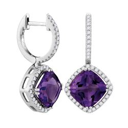 4 & 1/3 CTW Cushion Natural Amethyst Diamond Dangle Earrings 14kt White Gold - REF-82M8A