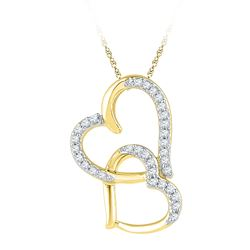 1/10 CTW Round Diamond Linked Double Heart Pendant 10kt Yellow Gold - REF-7M8A