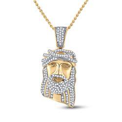 3/8 CTW Mens Round Diamond Jesus Face Charm Pendant 10kt Yellow Gold - REF-30H3W