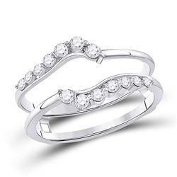 1/3 CTW Round Diamond Journey Wrap Ring 14kt White Gold - REF-33A6N