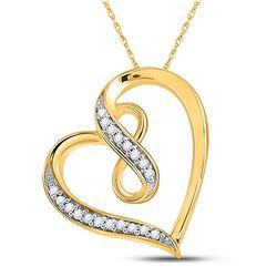 1/20 CTW Round Diamond Heart Infinity Pendant 10kt Yellow Gold - REF-8W4F