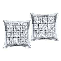 7/8 CTW Round Diamond Kite Cluster Earrings 10kt White Gold - REF-33A3N