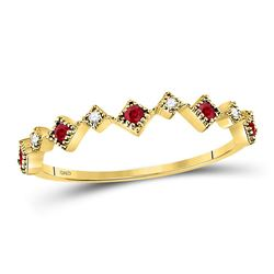 1/8 CTW Round Ruby Diamond Milgrain Square Stackable Ring 10kt Yellow Gold - REF-10F8M