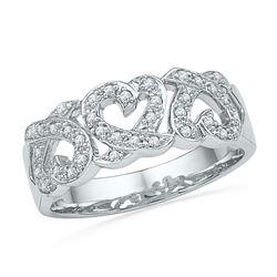 1/5 CTW Round Diamond Triple Heart Ring 10kt White Gold - REF-22M8A