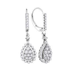 7/8 CTW Round Diamond Teardrop Frame Cluster Dangle Earrings 14kt White Gold - REF-63K3R
