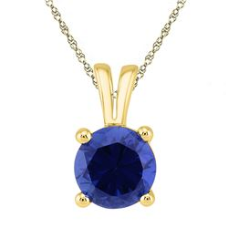 1 & 1/3 CTW Round Lab-Created Blue Sapphire Solitaire Pendant 10kt Yellow Gold - REF-7T5K