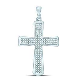 1/3 CTW Mens Round Diamond Roman Cross Charm Pendant 10kt White Gold - REF-26K3R