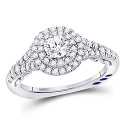 1 CTW Round Diamond Solitaire Bridal Wedding Engagement Ring 14kt White Gold - REF-129N3Y