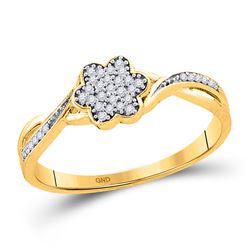 1/10 CTW Round Diamond Flower Cluster Ring 10kt Yellow Gold - REF-11X9T