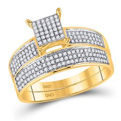 1/2 CTW His & Hers Round Diamond Cluster Matching Bridal Wedding Ring 10kt Yellow Gold - REF-45T3K