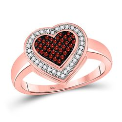 1/5 CTW Round Red Color Enhanced Diamond Halo Heart Cluster Ring 10kt Rose Gold - REF-21X5T