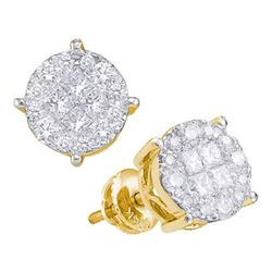 1 CTW Princess Round Diamond Cluster Earrings 14kt Yellow Gold - REF-83M9A